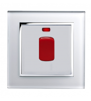 Retro Touch Crystal Glass 45A DP Switch with Neon (White CT)