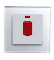 Retrotouch Crystal Glass 45A DP Switch with Neon (White PG)