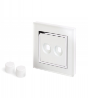 Retro Touch Crystal 2G LED Dimmer Plate (White CT)