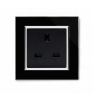 Retrotouch Crystal Ct Single 13A Uk Unswitched Socket (Black)