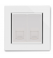 Retrotouch Crystal Dual CAT6e Socket (White)