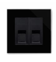 Retrotouch Crystal Pg Dual CAT6e Socket (Black)