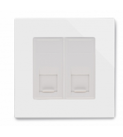 Retrotouch Crystal Dual CAT6e Socket (White PG)