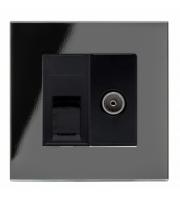 Retrotouch Crystal CAT6e / Tv Socket (Black PG)