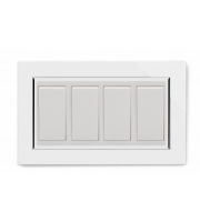 Retrotouch Crystal Ct 4 Gang (3x Int/1x 2Way) Double Plate (White)