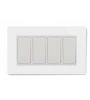Retrotouch Crystal 4 Gang 2 Way Double Plate (White)