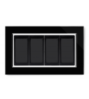 Retrotouch Crystal 4 Gang 2 Way Double Plate (Black CT)