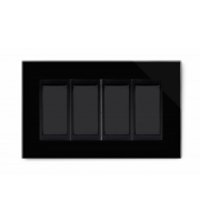 Retrotouch Crystal 4 Gang 2 Way Double Plate (Black PG)