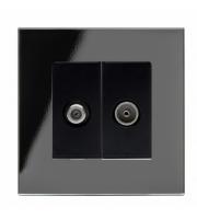 Retrotouch Crystal Pg Satellite / Tv Socket (Black)