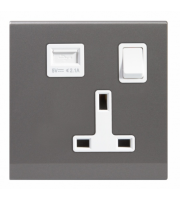 Retrotouch Simplicity 13A Single Plug Socket & Usb With Switch Mid (Grey)