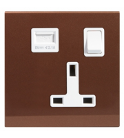 Retrotouch Simplicity 13A Single Plug Socket & Usb With Switch (Bronze)