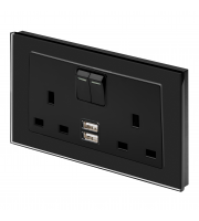 Retro Touch Crystal 13A DP Switched Socket with Dual USB (Black PG)