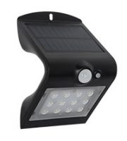 Robus SOL 1.5W Solar LED Wall light with PIR IP65 Black 4000K (Black)
