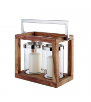 Endon Home Foley Twin Candle Holder (Natural Wood)