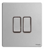 Schneider Electric Screwless Flat Plate 2G 2 Way Switch (Brushed Steel)