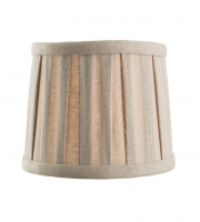 Cleo 6 Inch Tapered Shade in Pleated Taupe Linen Fabric