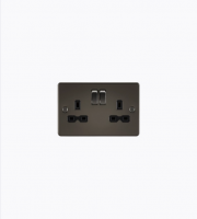 ML Accessories Flat Plate 13A 2G DP Switched Socket (Gunmetal)