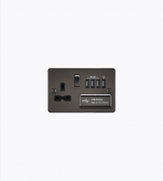 ML Accessories Flat Plate 13A Switched Socket with Quad USB (Gunmetal)