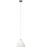 Searchlight Metal And Glass Pendant 1LT Satin Silver Opal Glass