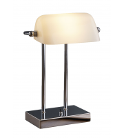 Searchlight Bankers Lamp - Chrome White Glass