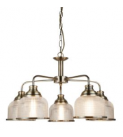 Searchlight Bistro Ii - 5 Light Ceiling, Antique Brass, Holophane Glass SALE ITEM