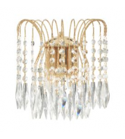 Searchlight Waterfall Gold 2 Light Wall Bracket With Crystal Buttons & Drops SALE ITEM