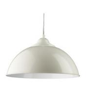 Searchlight Fusion Cream Half Dome Metal Pendant Light, White Inner SALE ITEM