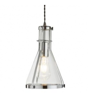 Searchlight 1 Light Metal Framed Conical Glass Pendant, Chrome, Clear Glass