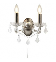 Searchlight 2 Light Wall Bracket, Clear Crystal Drops & Trim, Satin Silver Metal Finish