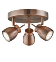 Searchlight Jupiter Antique Copper 3 Light Ceiling Spotlight With Round Plate