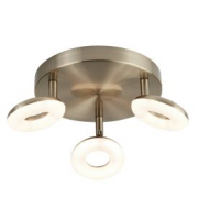Searchlight 3 Light Donut Led Disc Spot Light Antique Brass, Switched, Adjustable Heads