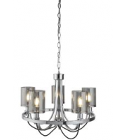 Searchlight 5 Light Ceiling Fitting, Chrome, Black Braided Cable, Smoked Glass Shades