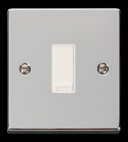 Click Scolmore 10AX 1 Gang 2 Way Plate Switch - White - (Polished Chrome)