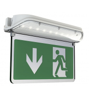 Ansell Harrier IP65 Led 3M/NM Exit Sign C/w Legend, Self-test (White)