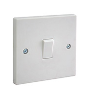 BG Electrical Moulded 1 Gang 1 Way Plate Switch (White)