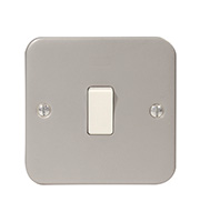 BG Electrical Metalclad 1 Gang 2 Way Plate Switch (Silver)