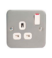 BG Electrical Double Pole 1 Gang Switch Socket (Silver)