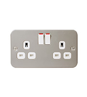 BG Electrical Double Pole 2 Gang Switch Socket (Silver)