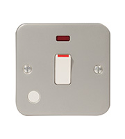 BG Electrical Metalclad Double Pole Switch with Neon (Silver)