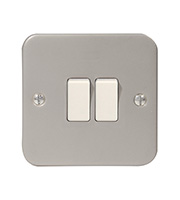 BG Electrical Metalclad 2 Gang 2 Way Plate Switch (Silver)
