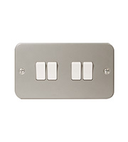 BG Electrical Metalclad 4 Gang 2 Way Plate Switch (Silver)