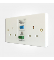 Eterna Twin Unswitched White Rcd Socket (White)