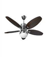 Fantasia Delta RD 52 Inch Low Energy Ceiling Fan with Aries Light (Brushed Nickel and Dark Oak)