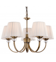 Firstlight 4863AB Langham 5 Light Multi-Arm Fitting in Antique Brass with Pleated Cream Shades