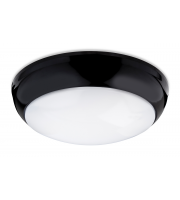 Firstlight Regis Single Light LED Flush Bathroom Ceiling Fitting With Black Trim And White Shade