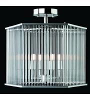 Firstlight 7628CH Rialto Hexagonal Semi Flush Ceiling Light With Clear Glass Rods (Chrome)