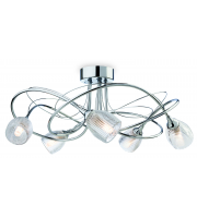 Firstlight Henley 5 Light Semi Flush Ceiling Fitting In Polished Chrome Finish With Clear Glass Shades