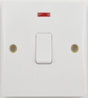 Schneider Electric GET Ultimate 20A DP Switch with Neon and Flex Outlet (White)