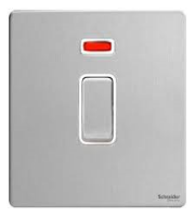 Schneider Electric GET Ultimate Screwless Flat Plate 20AX Switch With Flex Outlet (Stainless Steel)