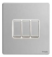 Schneider Electric GET Ultimat Screwless 3 Gang 2 Way Switch (Stainless Steel)